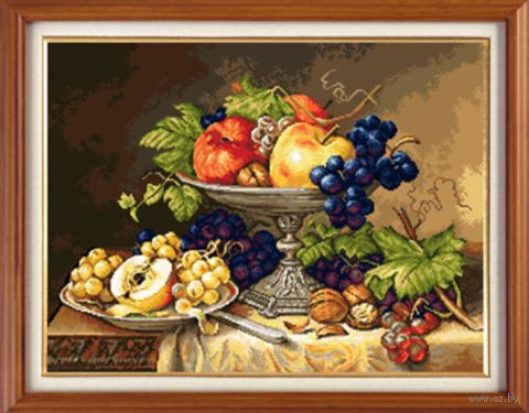 "Вышивка крестом ""Натюрморт с фруктами"" (410х310 мм) — фото, картинка"