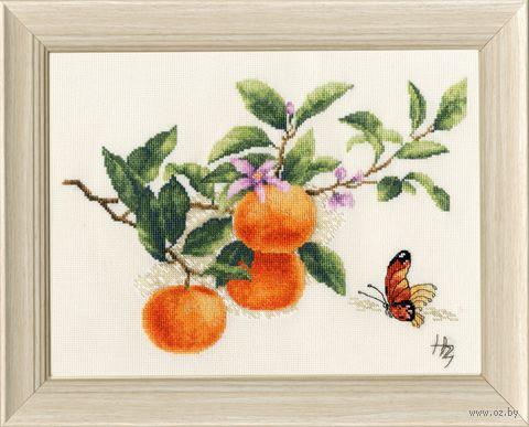 "Вышивка крестом ""Зубкова. Веточка мандарина"" (185х250 мм) — фото, картинка"