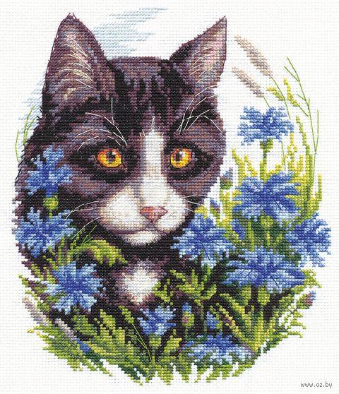 """Вышивка крестом """"Кот в васильках"""" (170х200 мм) — фото, картинка"""