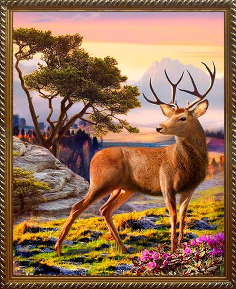 """Алмазная вышивка-мозаика """"Благородный олень"""" (300х400 мм) — фото, картинка"""