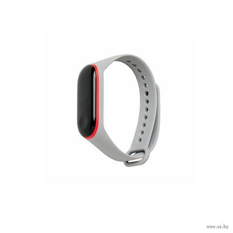 Ремешок для Xiaomi Mi Band 3 и Mi Band 4 (серый с красным) — фото, картинка