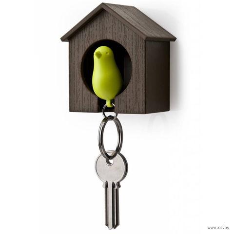 """Брелок-свисток и держатель для ключей """"Sparrow"""" (коричневый/зеленый)"""