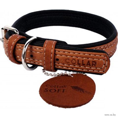 """Ошейник из натуральной кожи """"Collar Soft"""" (38-49 см; коричневый верх) — фото, картинка"""