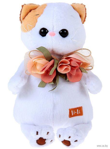 "Мягкая игрушка ""Кошечка Ли-Ли с цветами из шёлка"" (24 см) — фото, картинка"
