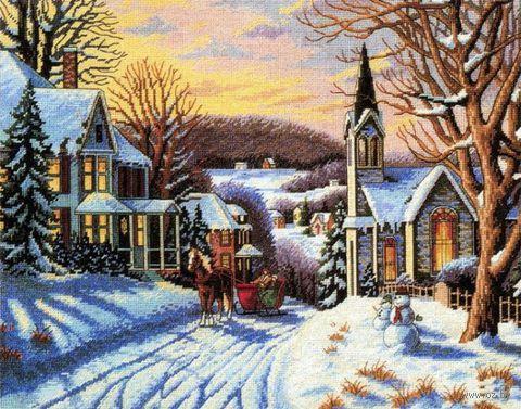 """Вышивка крестом """"Зима в городке"""""""