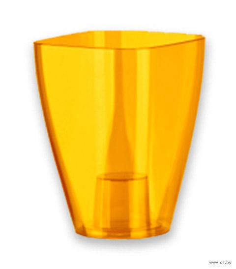 """Цветочный горшок """"Osk"""" (12х12х16,5 см; прозрачный медовый) — фото, картинка"""
